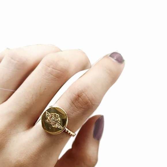 Gold Vermeil Rose Flower Ring Open Statement Ring